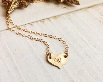 Heart Choker, Personalized Heart Necklace, Heart Initial Choker,  Gold Choker Necklace, Sideways Initial Heart Necklace, Personalized Gift