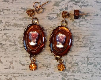 Vintage Amber glass cameo earrings