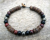 Mens tribal bracelet, iron pyrite, jasper, horn and coconut shell beads, handmade, on strong cord, surfer style mens jewelry, one of a kind