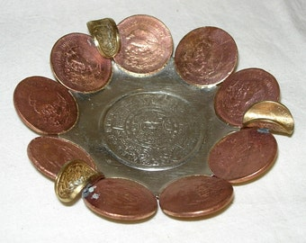 Mexican Centavos Coin Handcrafted Souvenir Ashtray Mayan Aztec Calendar 1940s-50s-60s Money
