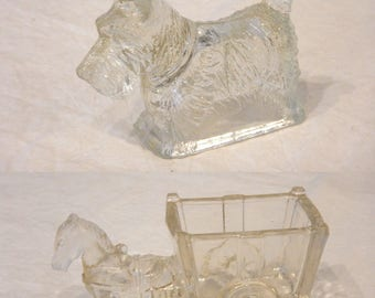 "2 1940s Clear Glass Figurines 4"" Scotty Dog 4"" and 5"" Pony & Cart Confectionary Candy Dish"