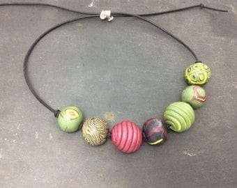 Chunky necklace - polymer clay beaded necklace