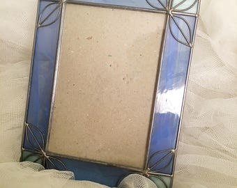 Vintage blue stained glass picture frame, blue stained glass picture frame