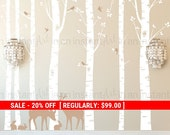 Seven Birch Tree Wall Decal with Deer and Bunny |  Custom Baby Nursery and Children's Room Interior Design | Easy Application 011