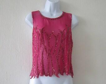 Vintage Cherry Red Silk Sequin Top