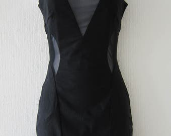 Black Spandex Dress with Sheer Panels
