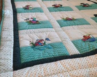 Fishing crib bedding etsy for Fishing baby bedding