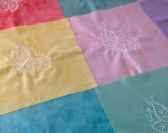 Embroidered butterfly quilt blocks, colorful cotton quilt blocks, 12 butterfly quilt squares