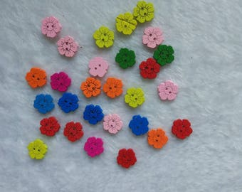 "30 PC Painted wood buttons 15mm - Wooden Buttons ,buttons, natural wood buttons ""flower"" A085"