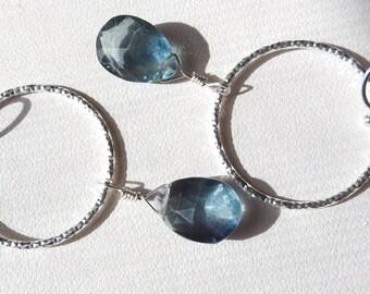 Deep Blue Fluorite Earrings in Sterling Silver