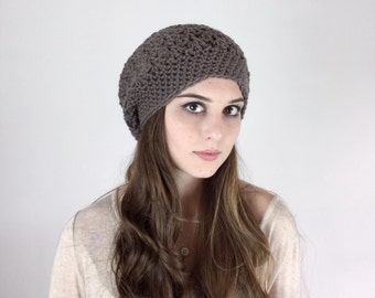 Beanie Hat Crochet Textured HDC Slouchy Hat Beret in Mocha or Choose Your Color