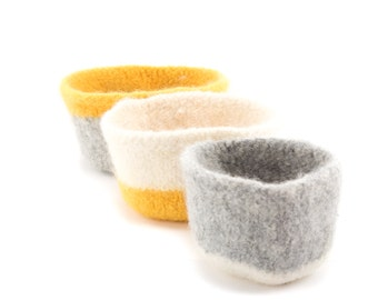 WOOLY FELTED BOWLS - three felted nesting bowls - yellow, cream, natural, grey, ash 25