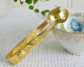 Tiny golden sugar and candy tongs, vintage praline server, gold plated