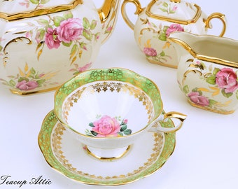 RESERVED Royal Standard  Green Teacup and Saucer Set With Pink And Yellow Roses, English Bone China Tea Cup Set, ca. 1949