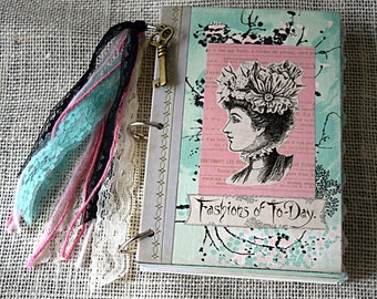 Mixed-Paper Journal - Victorian Fashion - Reader's Digest Covers- Junk Journal, Ephemera Smash Book, Altered Art Notebook, Delineator, Paris