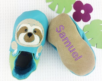 Personalised Sloth Baby Shoes - Sloth Childrens slippers - First birthday gift - new baby gift - personalised baby gift