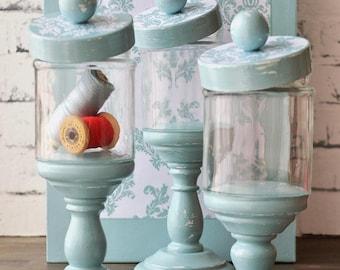 Apothecary jars set - pedestal - glass - damask teal - aqua - decoupaged - handmade - in decorative box