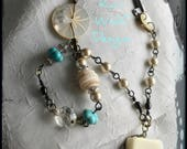 Chicken, Lady, Necklace, Crazy, Turquoise, Vintage, Mother of Pearl Buttons, Antique Key, Chandelier Crystals. Created By: Kari Wolf Designs