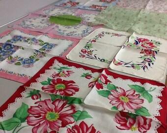 Hankies Cotton Vintage Set of Seven Flowered