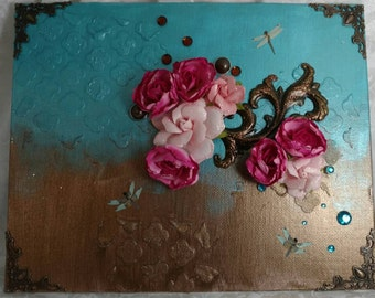 8x10 mixed media canvas - I call it cake