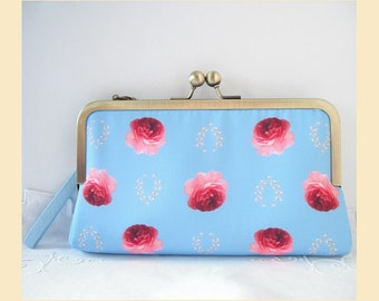 Wedding clutch bag, wristlet purse, handmade clutch, roses print, bridesmaids purse, bridesmaids gift, personalisation