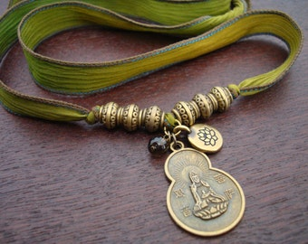 Women's Quan Yin Compassion, Lotus, & Smoky Quartz Silk Wrap Bracelet or Necklace // Women's Jewelry, Silk Jewelry, Stocking Stuffers
