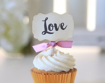 Love Cupcake Toppers/Wedding Cupcake Toppers/Valentine's Day Cupcake Toppers, Anniversary, Bridal Shower