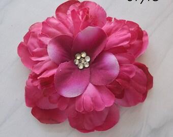 Magenta Flower Hair Clip