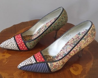 Vintage 1950s 1960s  I. Miller fabric covered leather high heel pump shoes with fabric covered 3 1/2 inch heels
