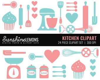 Kitchen Clipart - Baking Clipart - Kitchen Utensils Clipart - Baking Utensils Clipart - Set of 24