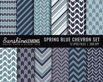 Spring Blue Chevron Digital Scrapbooking Paper Set - COMMERCIAL USE Read Terms Below