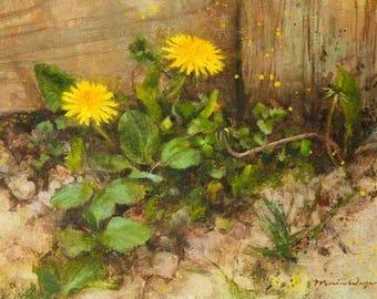 Dandelion Oil Painting Original Art 9x12 Fine Art Botanical Floral Art Yellow Green Gold Wildflower Rustic Charming Summer Nature Lover Gift