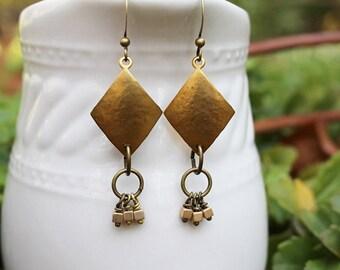 Gold Earrings, Brass Earrings, Hammered Brass, Beaded Jewelry, Long Earrings, Gold Dangle Earrings, Bohemian Earrings