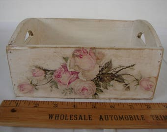 shabby chic roses box,French off white painted crate with pink floral decoupage
