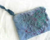 Blue velvet purse - embroidered velvet pouch - blue velvet purse - free embroidered velvet pouch - hand crafted purse