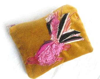 Embroidered velvet purse - embroidered bird pouch - hand dyed velvet pouch - free embroidered bird purse - zipped gold velvet pouch