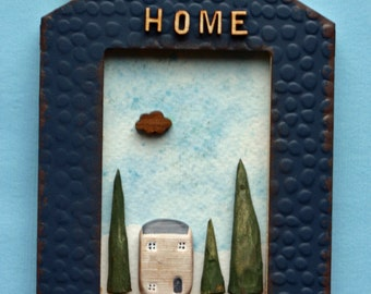 House ornament, diorama, wall art, repurposed picture frame, small, home, small trees and house, carved willow trees, home, kitchen art
