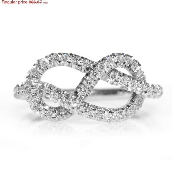 Valentines SALE! Infinity Engagement Ring - The Original, 14K/18K Gold Ring,  0.35 CT Diamond Ring, Unique Engagement Ring, Infinity Knot Ri