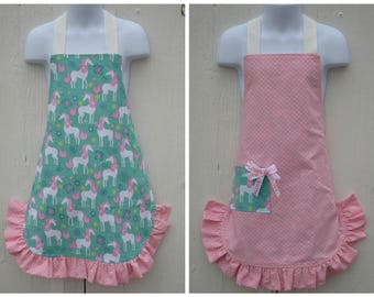 Unicorn Apron, Little Girl Apron, Pink Apron, Reversible Apron, Cute Apron