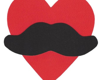 Iron on Valentine fabric heart with mustache applique DIY