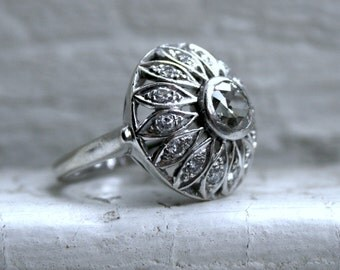 Vintage 14K White Gold Diamond Cluster Engagement Ring - 1.42ct.