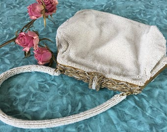 Vintage White Seed Bead Purse and Handle. Paris Bridal or Evening Bag. Gold, White Seed Beads Top and Latch With Pearls. Flip Up Latch.