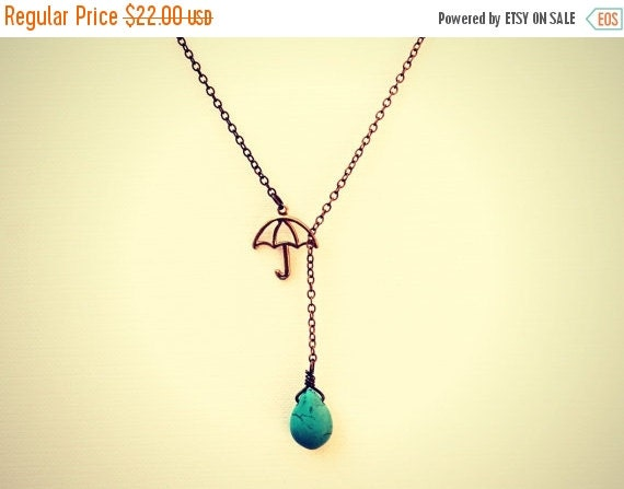 HOLIDAY SALE umbrella necklace with turquoise drop, turquoise necklace, rain necklace, unique necklace, vintage style necklace