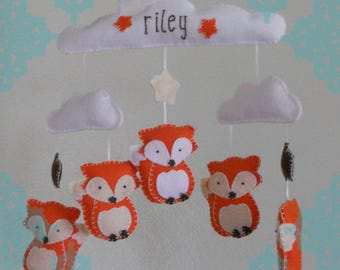 New- Customizable Felt Fox in the Clouds Baby Mobile- Baby Fox Mobile