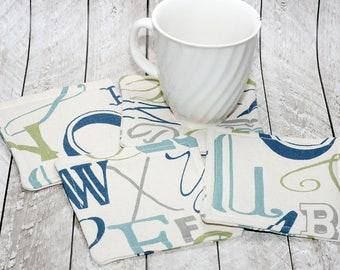 Typographic Blue & Green Coasters, Set of 4