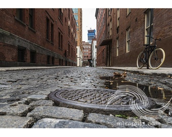 Tribeca, collister street, Manhattan, nyc, perspective, mood, atmosphere, cityscape, mood, simple, print, cobblestones, cool, beauty, wow