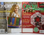 Crochet World, Crochet Magazines, Set of 2, December 2007, August 2014, 38 Crochet Patterns, Christmas Issue, Holiday Issue