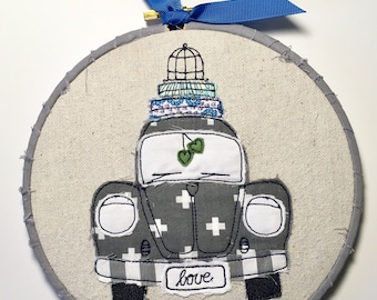 VW Bug Beetle Love- hoop art, scrapy happy bug car, gift