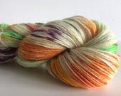 """Hand Dyed 4ply Sock Yarn """"Parrot On The Beach"""" 100g 420m 75/25"""