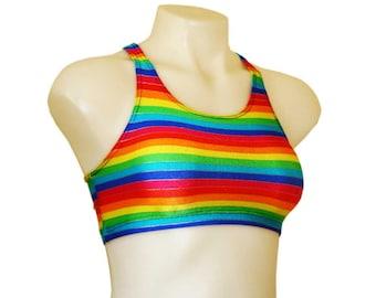 Crop top Rainbow Gender Fluid Print Spandex! Great for Festivals, Clubwear, Swimwear, Polewear, Yoga, Rave and dancewear